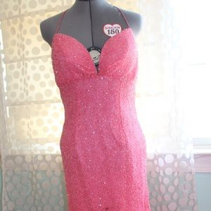 Pink women's Beaded Sequin Prom Dress Size 6